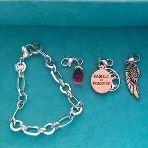 Origami Owl charm bracelet and three charms
